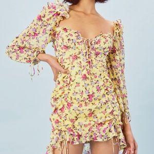 FL&L Beaumont mini dress yellow floral